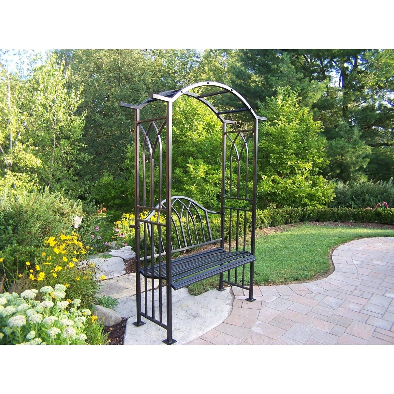 amazon com oakland living royal arbor with bench black