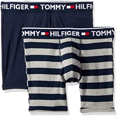 9df7566cb40560 Tommy Hilfiger Men's Underwear 2 Pack Bold Cotton Boxer Briefs at Amazon  Men's Clothing store: