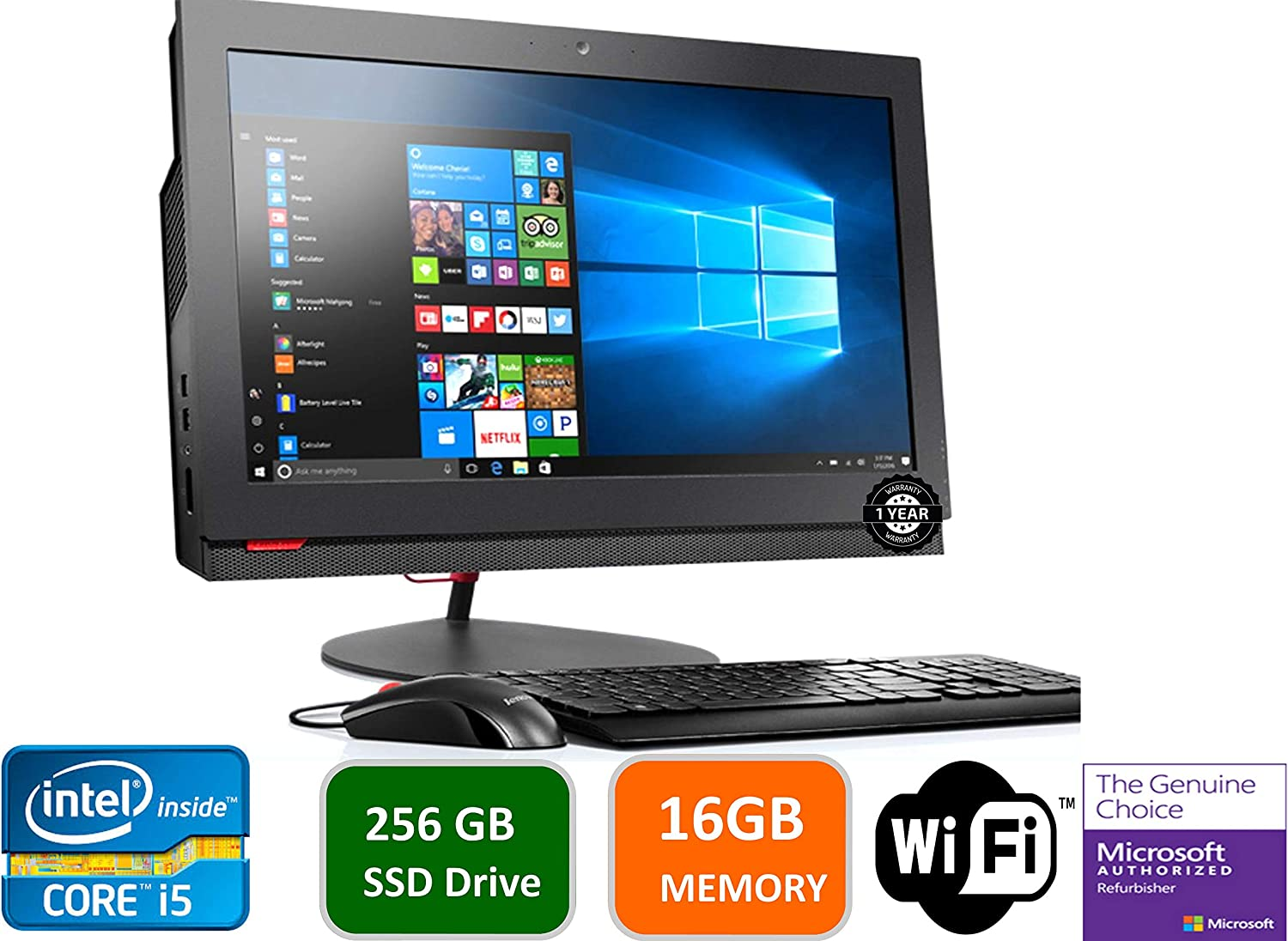 Lenovo ThinkCentre M800Z 21.5 in HD+ All-in-One Desktop Computer, Intel Quad Core i5-6500-3.2 GHz, 16GB RAM, 256GB SSD HDD, USB 3.0, DVDRW, DiaplayPort, RJ-45, Windows 10 Professional (Renewed)