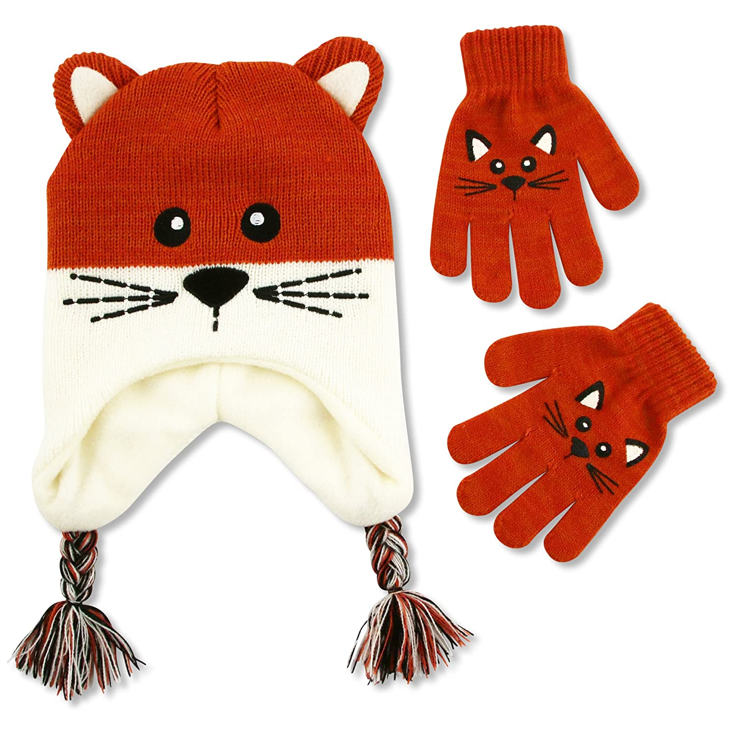ABG Accessories Little Girls Kitty Critter Hat and Glove Cold Weather Set, Age 4-7 GNF59733AP