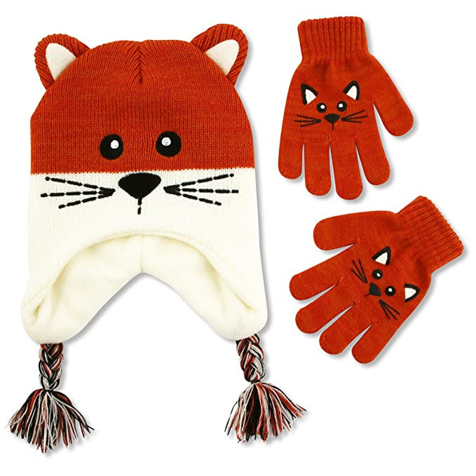 87c2b65de70 Amazon.com  ABG Accessories Big Girls  Kitty Critter Acrylic Winter  Lapander Hat with 3D Puffed Ears and Matching Glove Set