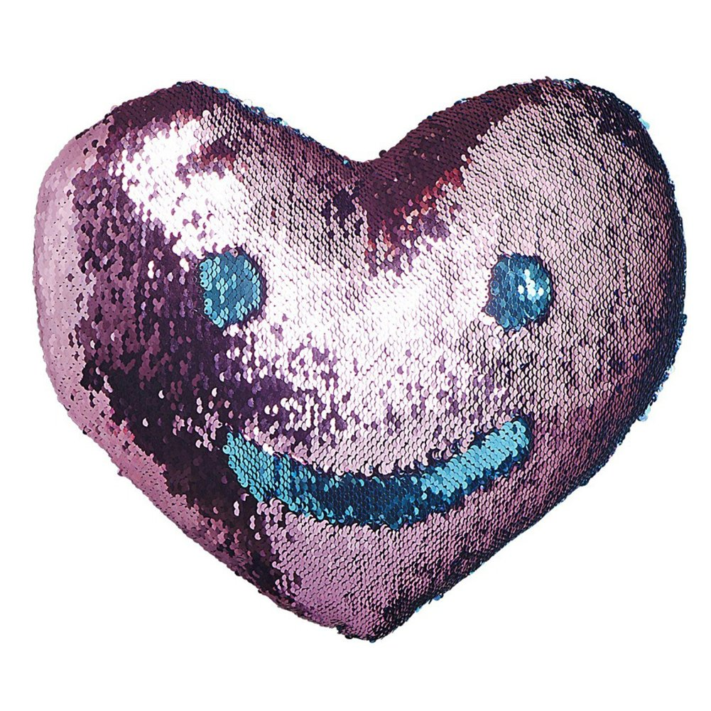 Heart Shape Sequin Pillow with Insert Mermaid Reversible Color Change Throw Shiny Two Color Flip Cushion Magic Write On Girls Gift Bolster for Sofa Couch Bedroom Car 14'' x 15.5'',Blue and Pink by URSKYTOUS (Image #3)