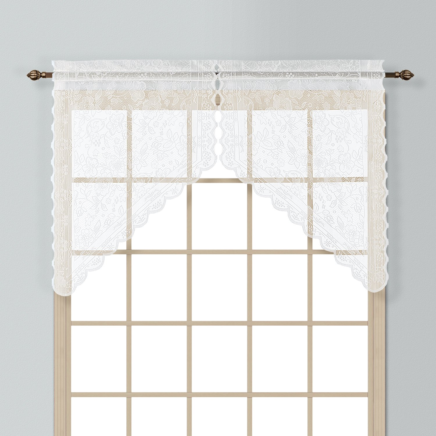 United Curtain Windsor Lace Straight Valance, 56 by 16-Inch, Natural WINDVANT