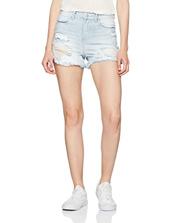 New Look Women's Gelato Ripped Mom Shorts, Blue (Dark Blue), ...