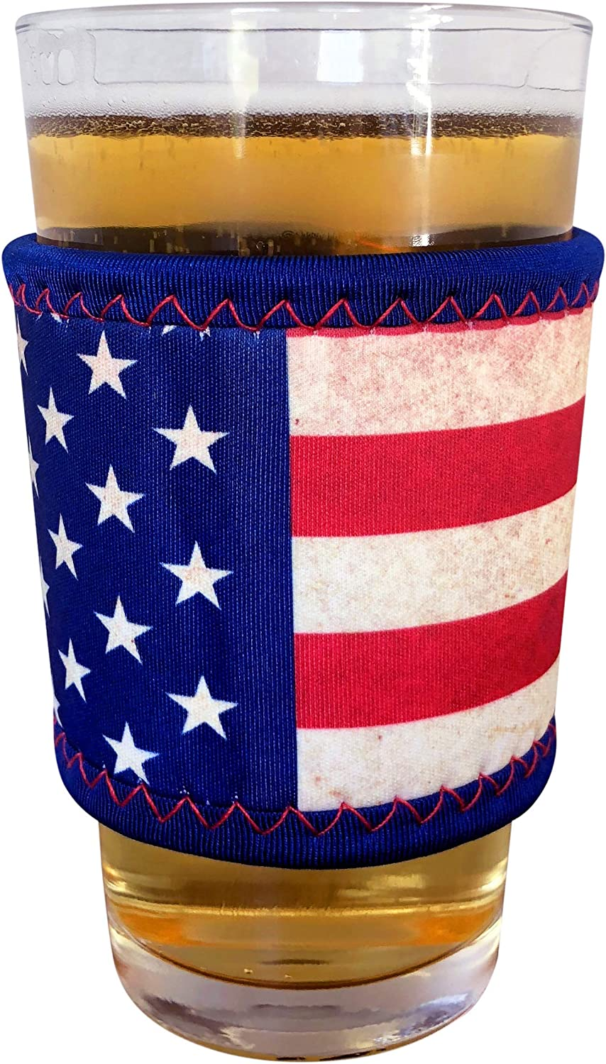 Koverz Neoprene Coffee Sleeve, Cup Grip, Drink Holder, Pint Sleeve - American Flag