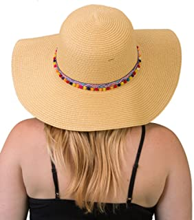 f0c803ad62a Funky Junque Women s Pom Tassel Packable Adjustable Straw Beach Floppy Sun  Hat