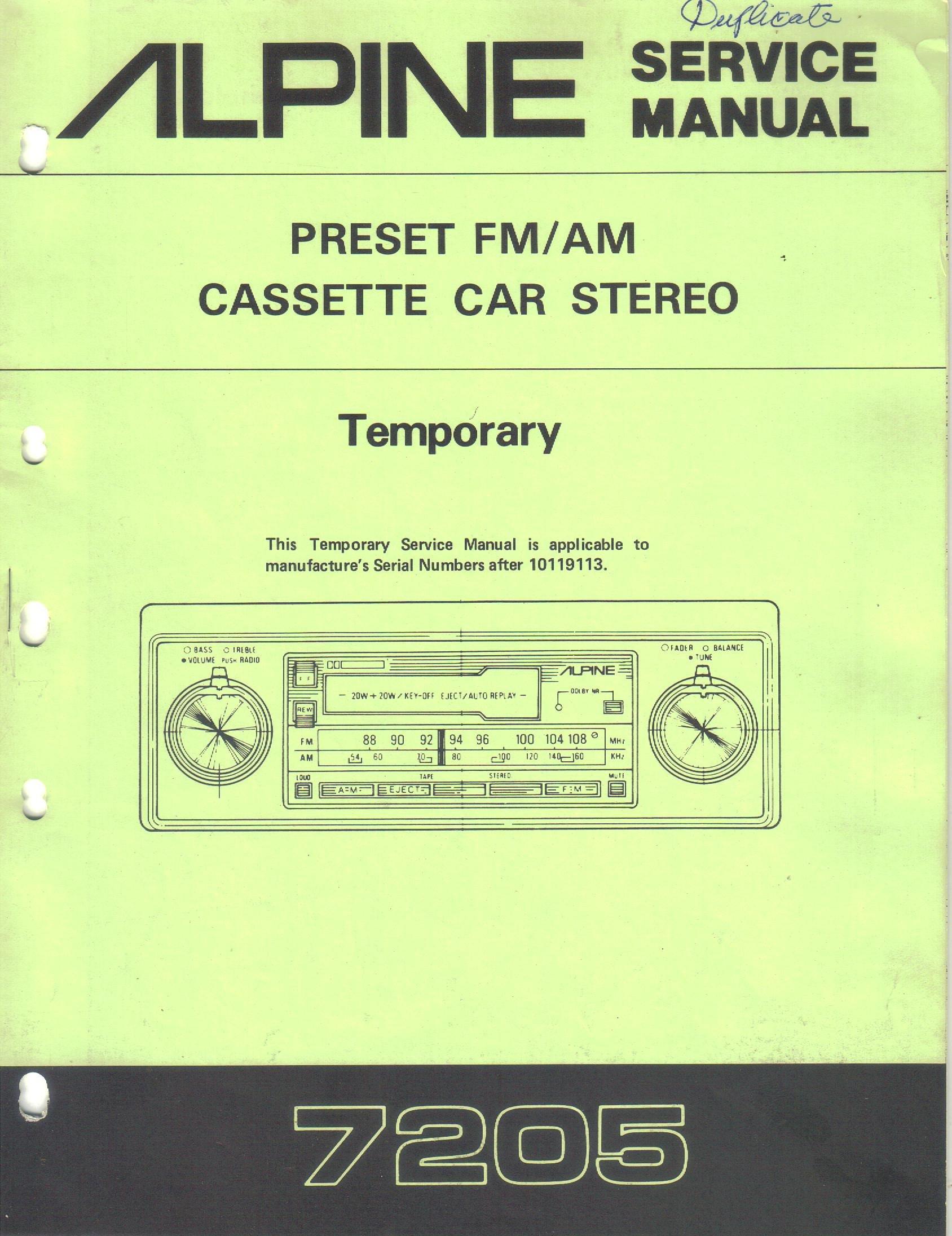 [DIAGRAM_38ZD]  Alpine 7205 Preset AM FM Cassette Car Stereo, Temporary Service Manual,  Parts List, Schematic Wiring Diagram: Alpine Electronics Inc, not stated:  Amazon.com: Books | Alpine Car Radio Wiring Diagram |  | Amazon.com