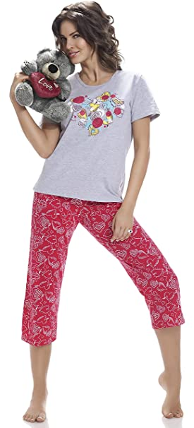 Cornette Pijama Pantalones Pijamas Mujer verano 100% Algodón CR-624 (Mezcla (Hearts