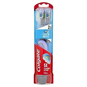 Colgate 360 ° Pérdida Puntas Cerdas Mediana Adulto Batería Dos Cabeza Pack: Amazon.es: Salud y cuidado personal
