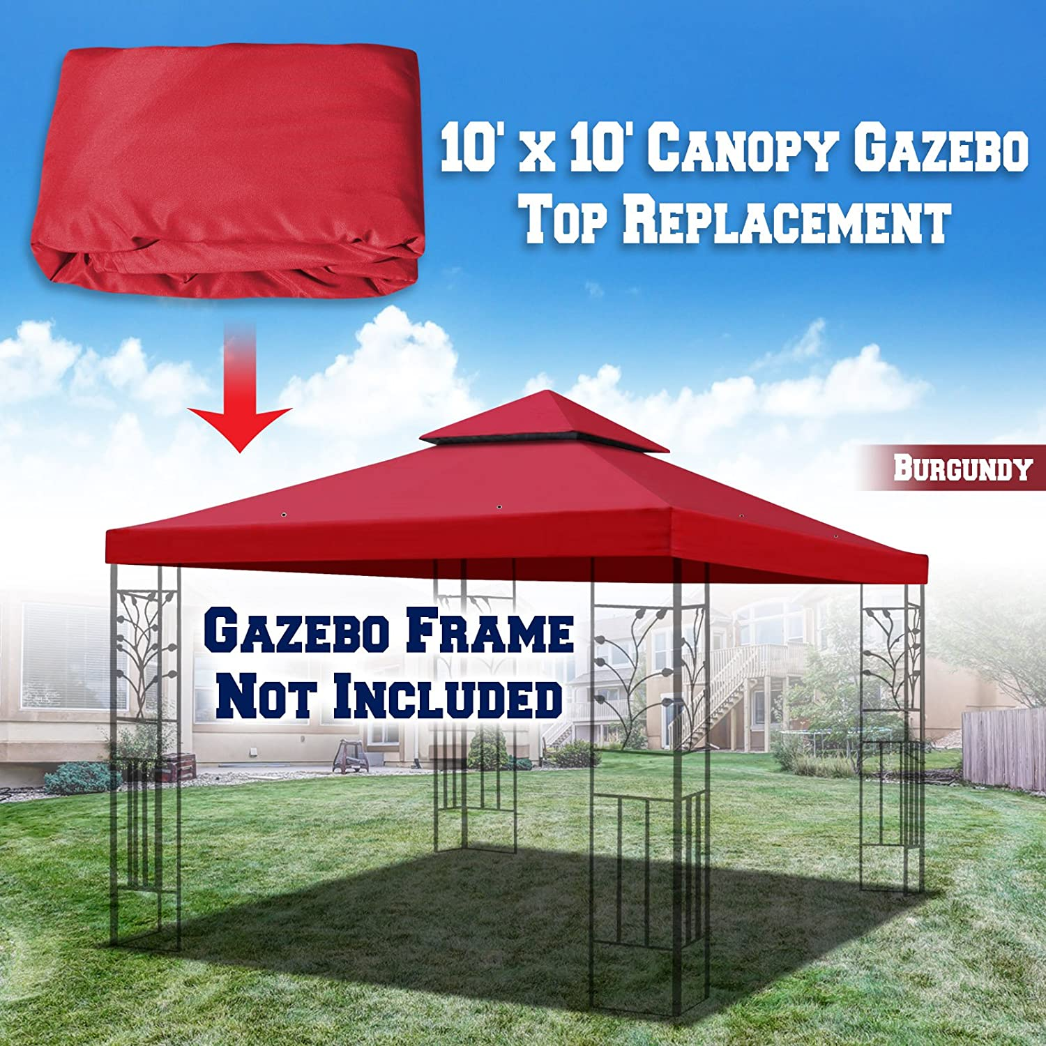 (Burgundy) - BenefitUSA Replacement 3mX3m Gazebo Canopy Top Cover Patio Pavilion Sunshade Double Tiers (Burgundy)