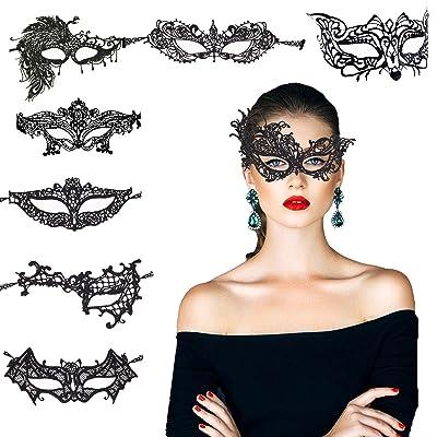 8 pcs máscara encaje negro de KAKOO de modo diferente suave para bar, fiesta, party: Juguetes y juegos