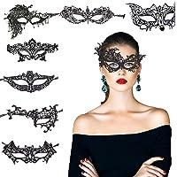8 Pcs Masques Dentelle Noir, KAKOO Kit Masques Vénitiens Sexy Masque Loup Dentelle Femme Homme Déguisement Pour Soirée Bal Mascarade Halloween Partie