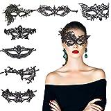 KAKOO 8 Modell Venezianische Maske Damen Spitze Augenmaske Gothic Maskerade Gesichtsmasken für Maskenball Kostüm Karneval Party Schwarz