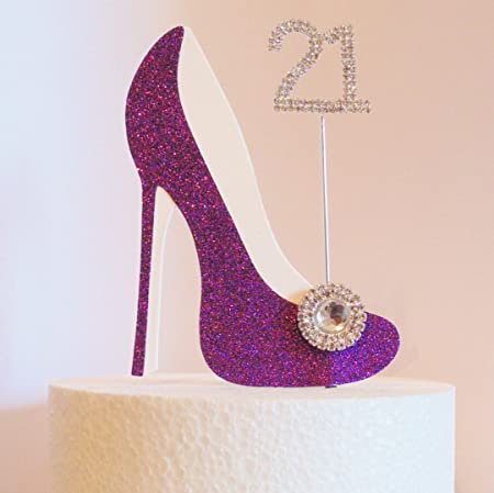 21st Birthday Cake Decoration Purple Shoe With Crystal Button Embellishment And Diamante Number Non Edible Amazoncouk Kitchen Home