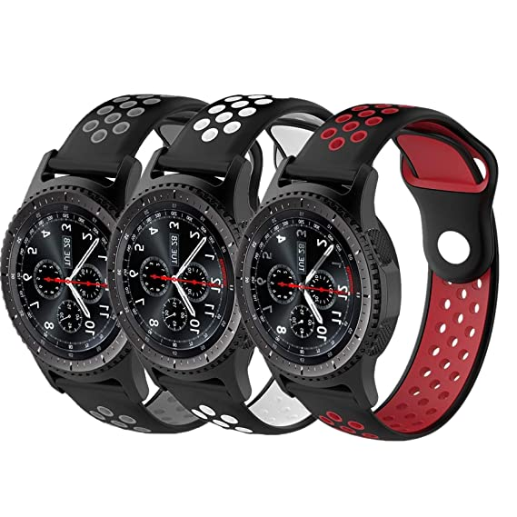 Amazon.com: Geekercity 3 Pack 22mm Smart Watch Bands, Soft ...