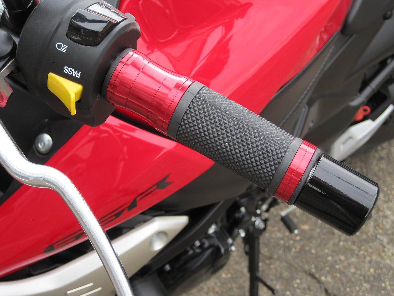 Universal 22mm 7//8 Red Motorbike Motorcycle Aluminium//Rubber Handgrips Hand Grips