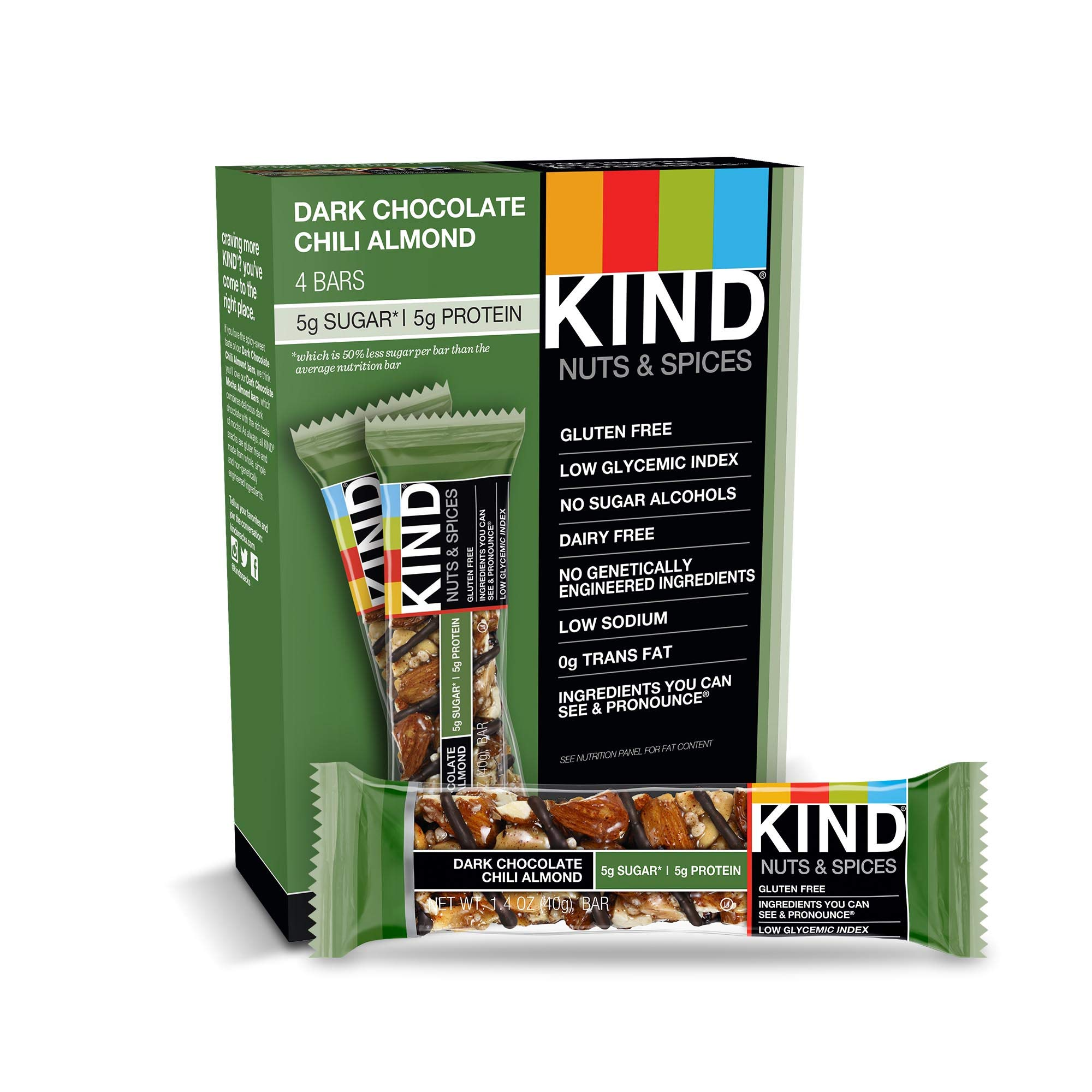 KIND Bars, Chocolate Chili Almond, Gluten Free, Low Sugar, 1.4oz, 4 Count (Pack of 12) by KIND
