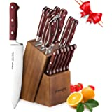 Knife Set, 15-Piece Kitchen Knife Set with Block Wooden, Self Sharpening for Chef Knife Set, German Stainless Steel, Boxed Knife Sets