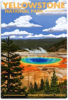 product image for Lantern Press Yellowstone National Park, Wyoming, Grand Prismatic Spring (12x18 Aluminum Wall Sign, Wall Decor Ready to Hang)