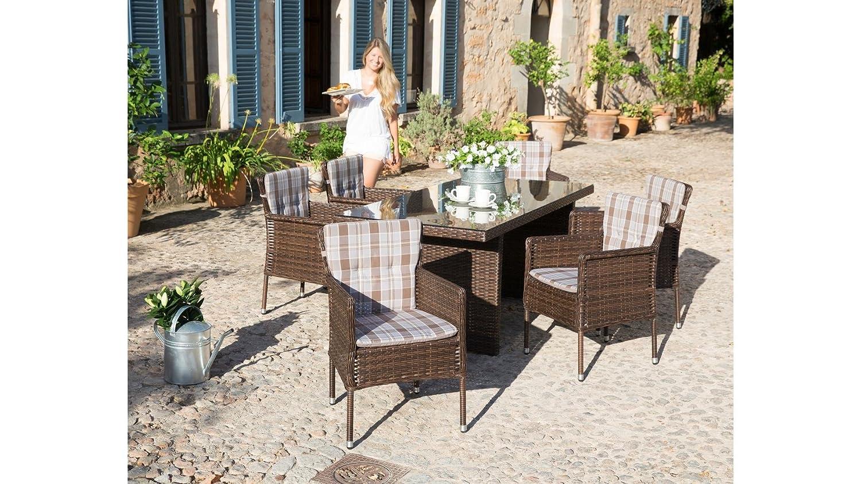 baumarkt direkt Gartenmöbelset Malaga, 6 Sessel, Tisch 180x90 cm, Polyrattan, braun braun