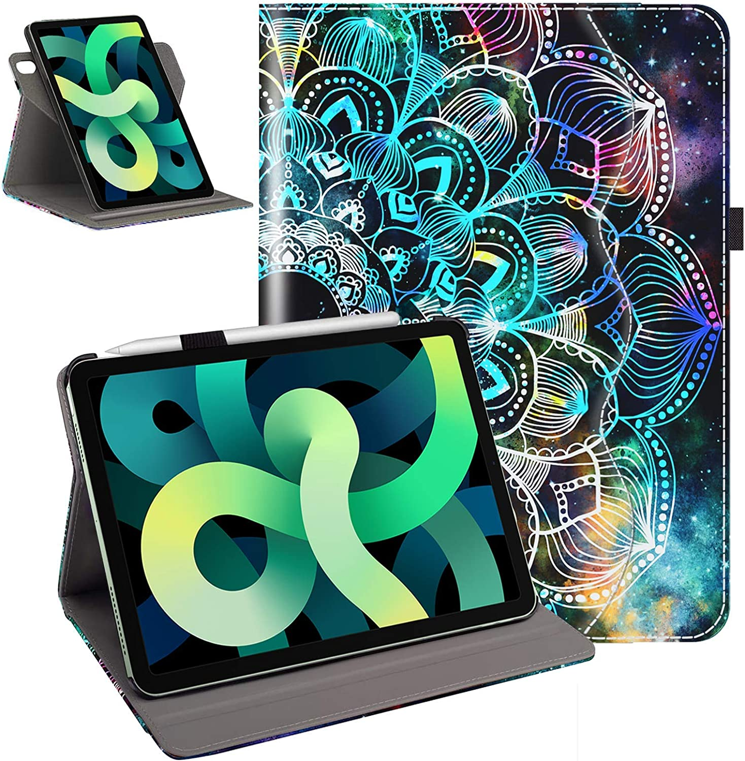 Case for New iPad Air 4 10.9 Inch 2020 with 360 Rotating, Auto Wake/Sleep, Pencil Holder [Supports Pencil 2nd Gen Charging] with Multi-Angle Viewing, Mandala