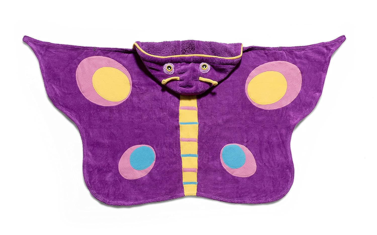 Kidorable Purple Butterfly All-Cotton Hooded Towel for Girls with Fun Eyes and Antennae, Ages 3-7