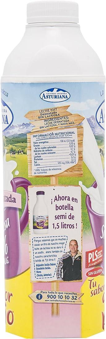 Central Lechera Asturiana Leche Sin Lactosa 0,0% - Paquete de 6 x 1000 ml - Total: 6000 ml: Amazon.es: Alimentación y bebidas