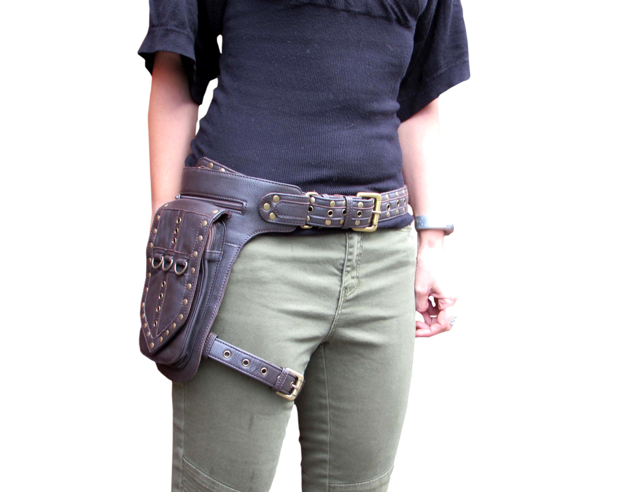 One Leaf Leather Leg Holster Utility Belt Thigh Bag (Medium Brown) by Oneleaf