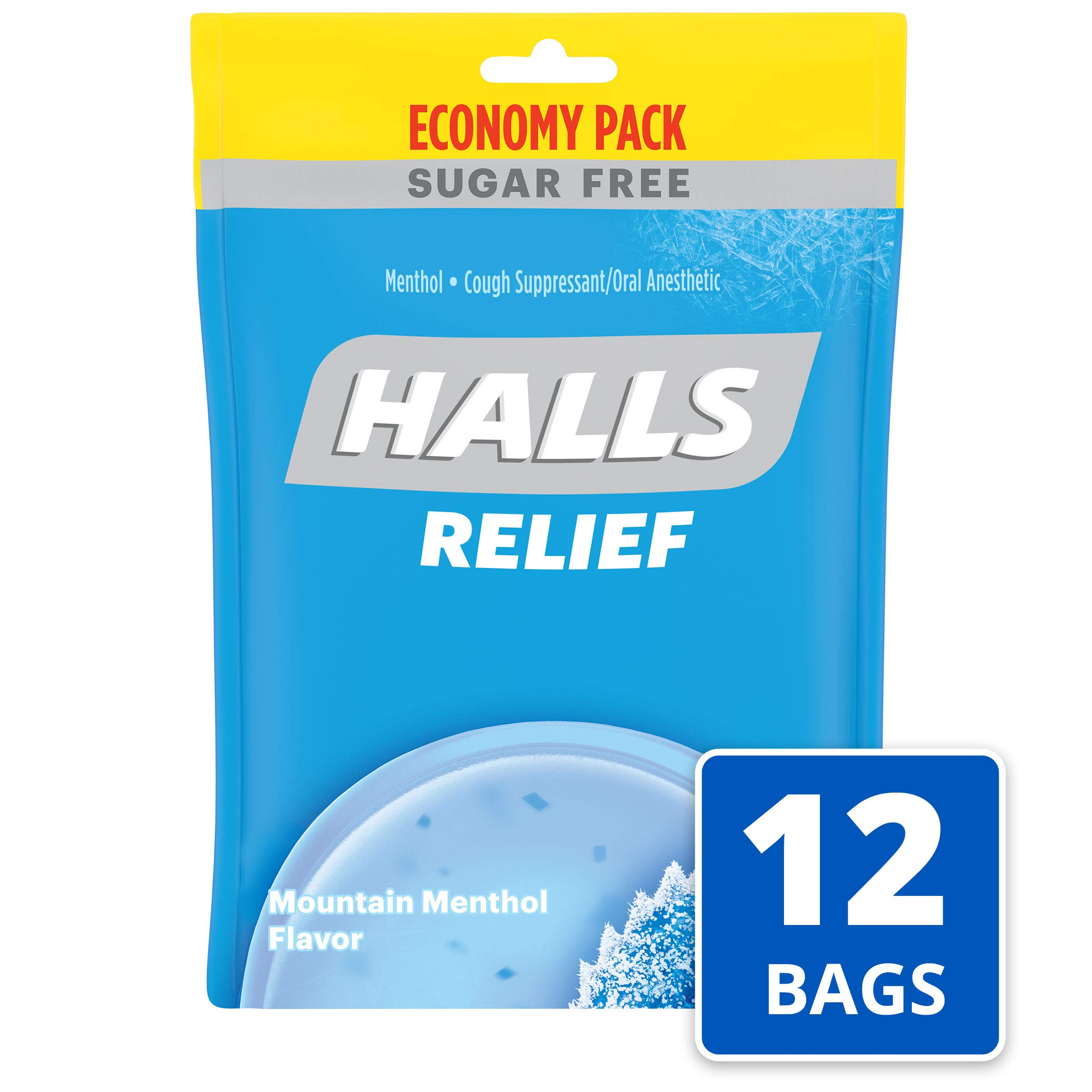 Halls Mountain Menthol Sugar Free Cough Drops - Bulk Pack - 840 Drops (12 packs of 70 drops) by Halls