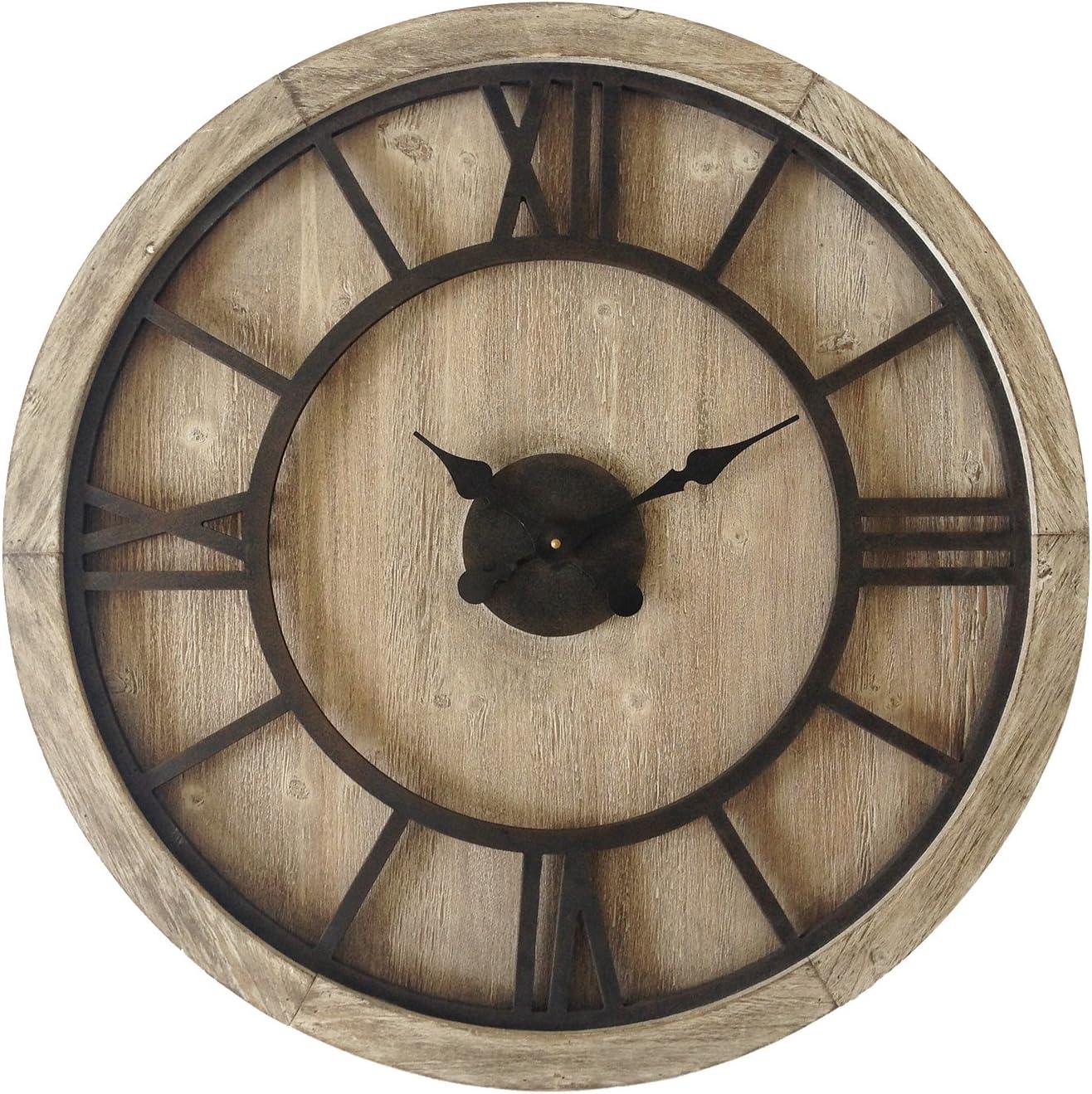 Rebecca Mobili Gran reloj redondo, madera de mdf de hierro, diseño retro, números romanos, decoración para el hogar - Medidas Ø 70 cm x P 5,5 cm ( AxANxF) - Art. RE6009