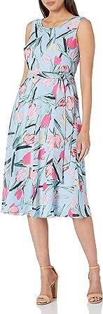 NINE WEST Women's Midi Dress with Sash at Waist