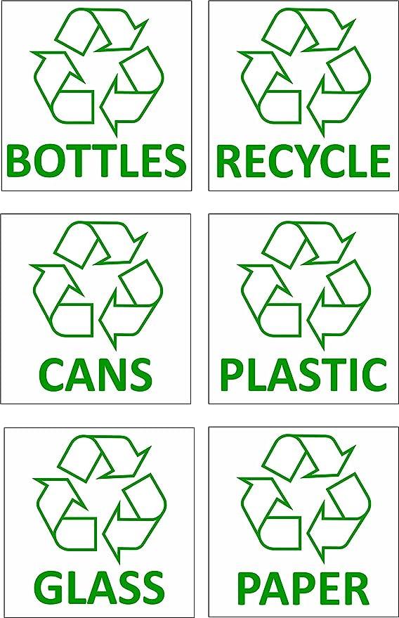 6 pegatinas de reciclaje de residuos de vinilo, de contenedores: Amazon.es: Bricolaje y herramientas