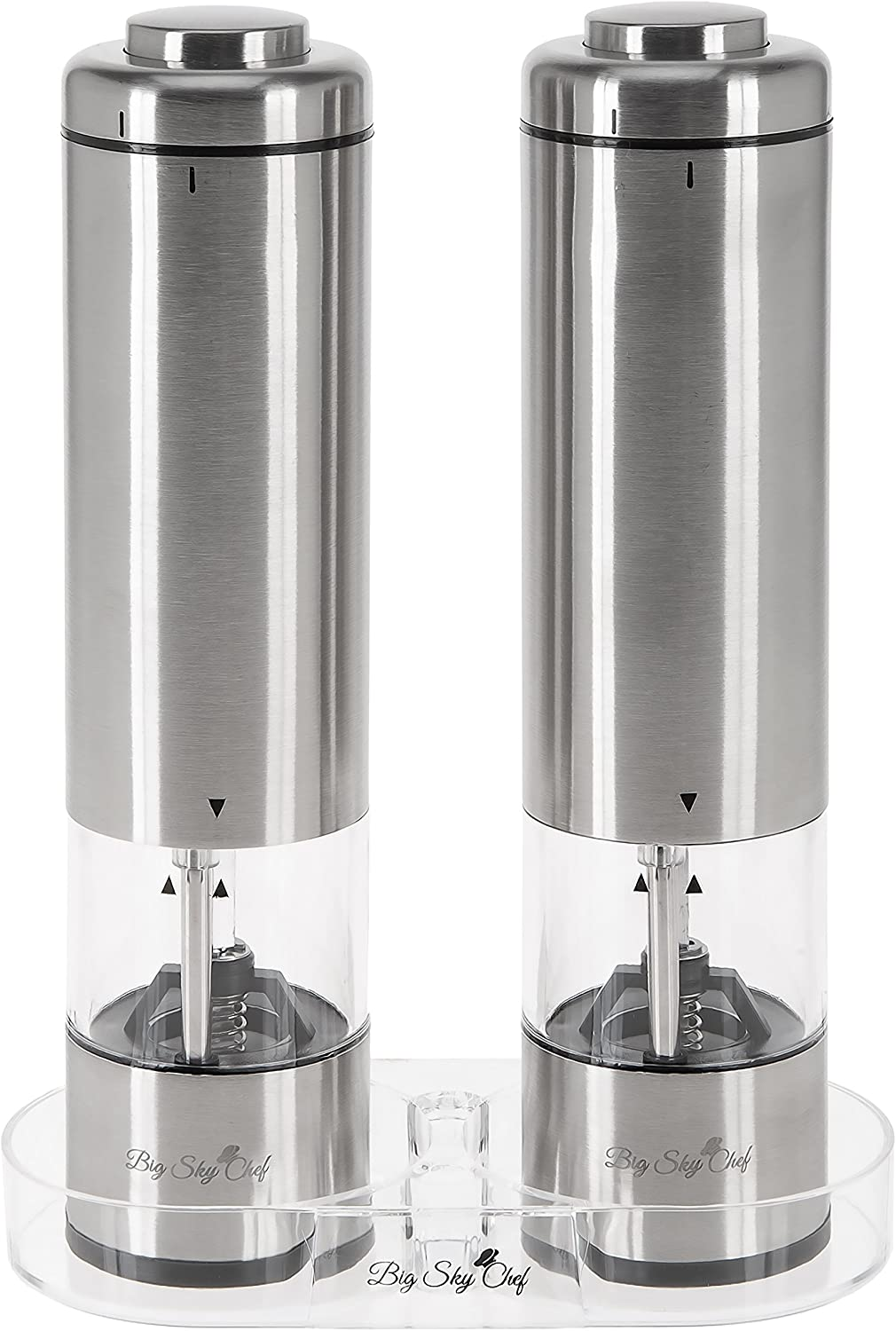 Battery Operated Salt and Pepper Grinder Set (Pack of 2 Mills) by Big Sky Chef - Stainless Steel- LED Light- Adjustable Coarseness- Complimentary Mill Rest