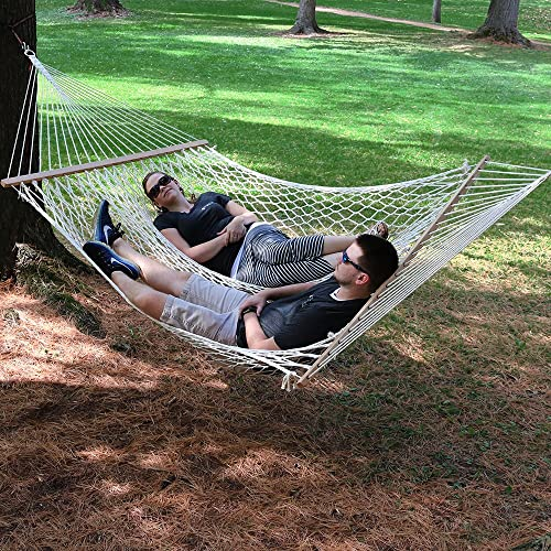 Sunnydaze Double Wide 100 Cotton Rope Hammock with Spreader Bars – Large Two Person Hammock for Patio Backyard – 450 Pound Capacity