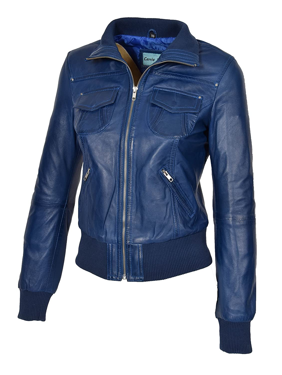 Ladies Bomber Real Leather Jacket Short Slim Fit Casual Blouson Motto Blue at Amazon Womens Coats Shop