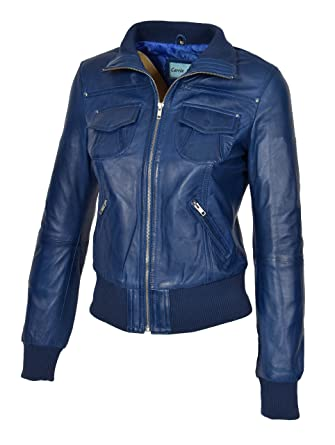 973ef3baa1289 A1 FASHION GOODS Womens Blue Leather Bomber Jacket Trendy Slim Fit Zip Up  Blouson Coat -