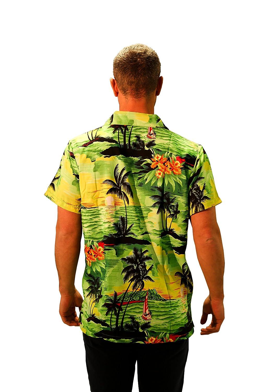 MENS HAWAIIAN SHIRT STAG BEACH HAWAII ALOHA  SUMMER HOLIDAY FANCY NEW GREEN SUN