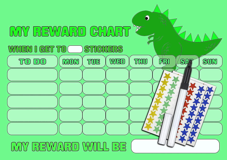 DINOSAUR REUSABLE POTTY TRAINING REWARD CHART Reusable Star Stickers