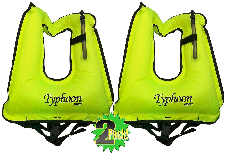 2 Hi-Viz XL-Adult 180lbs + 2 Pack Typhoon Snorkel Vests Locking Inflator Valve -