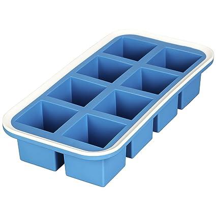 LEVIVO Molde de Silicona para 8 Cubitos de Hielo, Azul, 15 cm