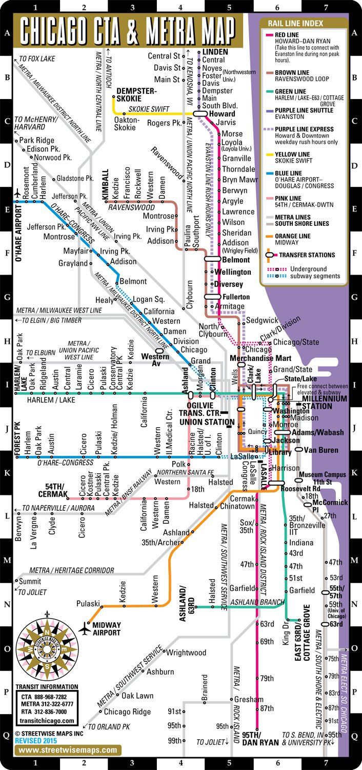 Streetwise Chicago CTA & Metra Map - Laminated Chicago Metro ... on the l chicago map, chicago subway station map, chicago l train system, chicago el map, austin metro transit map, chicago red line train routes, chicago metra blue line map, san francisco transportation map, uptown map, chicago blue line train map, chicago cta map with streets, chicago orange line map, chicago illinois state map, chicago train routes map, chicago supermarkets map, chicago rail map, orlando park il map, philadelphia location on a map,