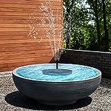 Riastvy Fonte de água solar de LED para banho de pássaros com 4 bocais, fonte alimentada por energia solar, para jardim, páss