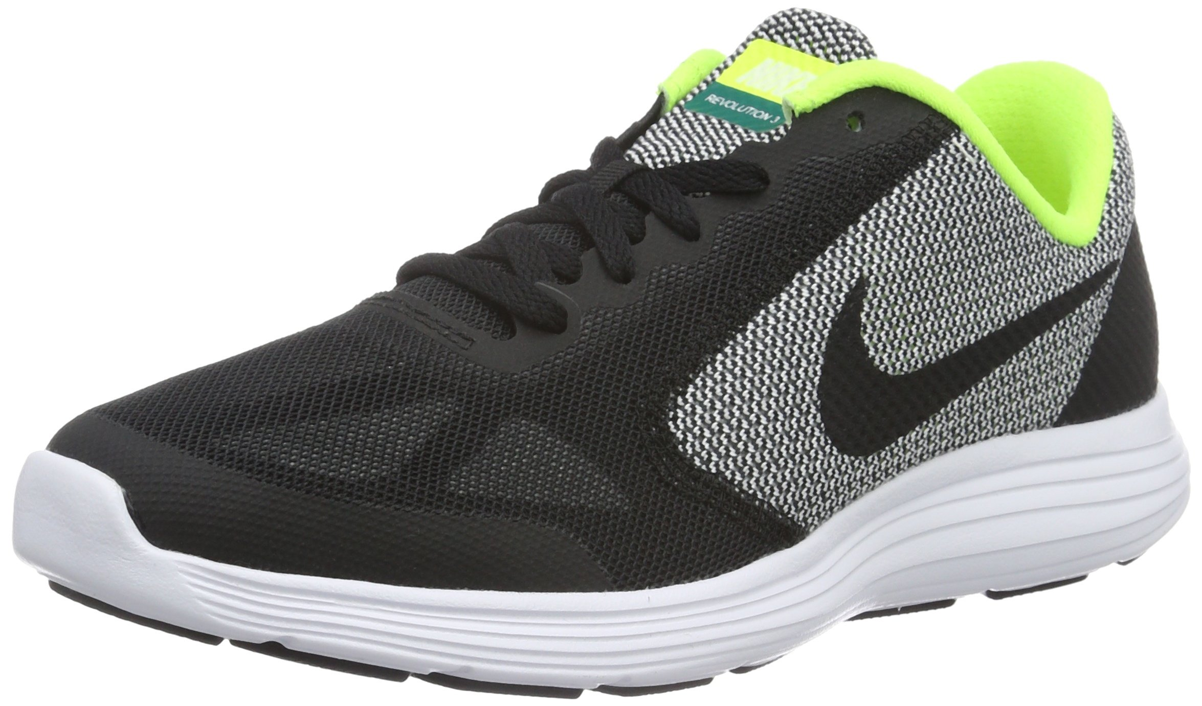 Nike Boys' Revolution 3 (GS) Running Shoe Black/White/Volt, 4.5 M US Big Kid