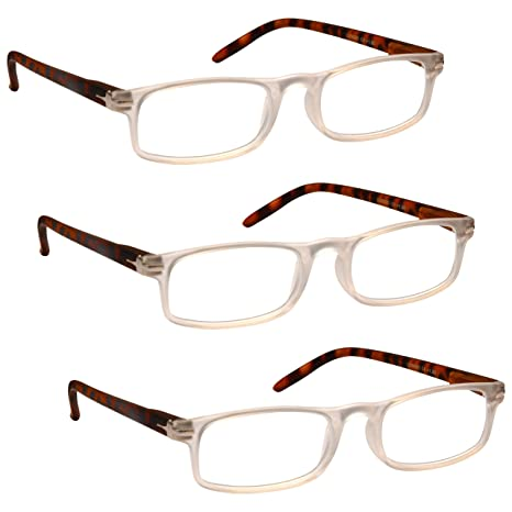 9560445b5d Buy The Reading Glasses Company Special 3 Pack Offer Matt Transparent Brown  Sides Readers Mens Womens RRR79-C Strength +3.50 Online at Low Prices in  India ...