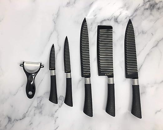 Amazon.com: ZePter 6 piece knife set finished in wrinkle ...