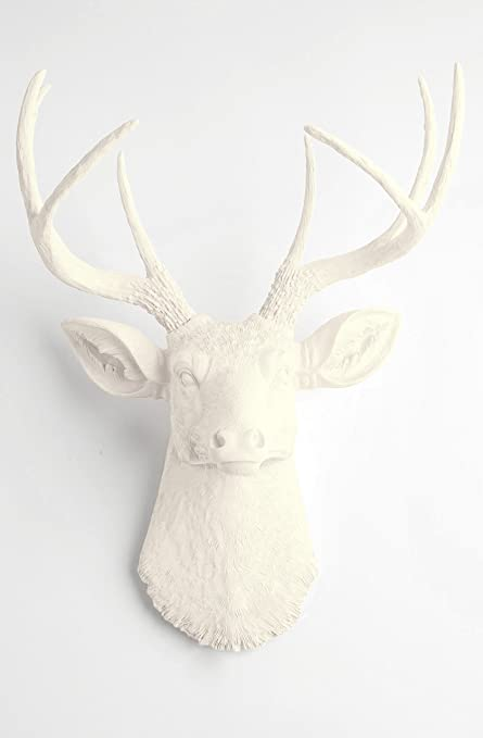 Superior White Faux Taxidermy The Templeton White Faux Deer Wall Sculpture (Antique  White)