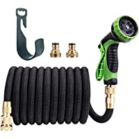 TaoTronics 50ft Garden Hose - All New Expandable Hose(TT-MS004),Double Latex Core, 3/4 Solid Brass Fittings, Extra Strength Fabric - Flexible Expanding Hose with Metal 10 Function Spray Nozzle
