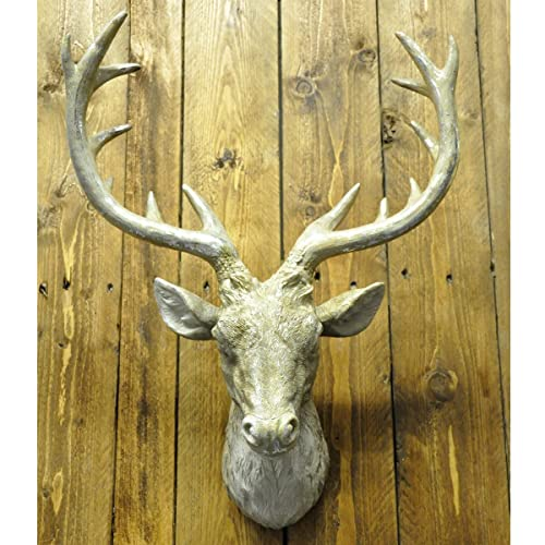 Large Deer Stag Head Wall Mount - Antique Gold and Bronze ...