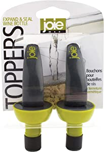 Joie Flip Top Expanding Wine Bottle Toppers, Set of 2, 3 Colors available, Colors Will Vary