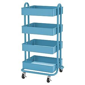 ECR4Kids 4-Tier Metal Rolling Utility Cart - Heavy Duty Mobile Storage Organizer, Turquoise